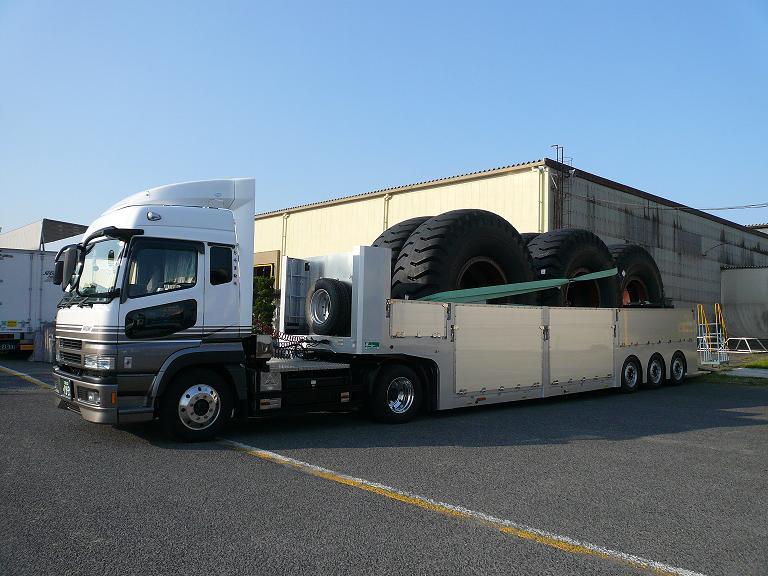 建機用タイヤ輸送特殊トレーラ